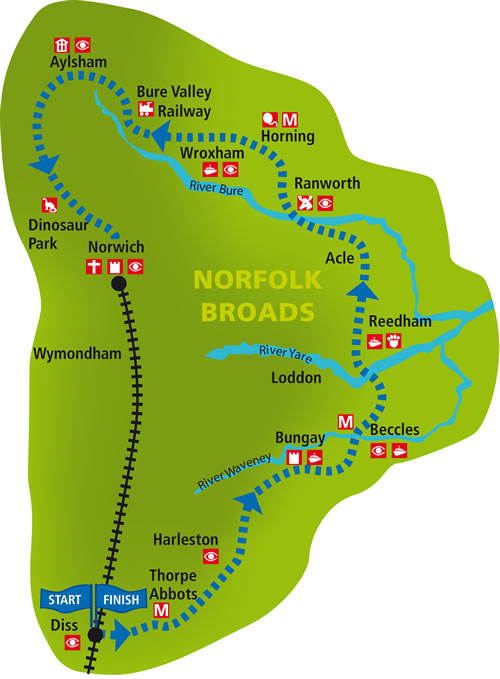 Broads and Rivers Ride Map